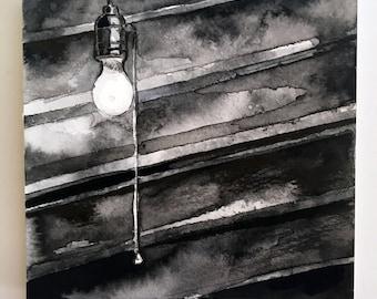 Spooky Light Bulb Ink Reproduction - Horror Story Art by Jen Tracy - No Sleep Podcast Art Print of Basement Bulb - Scary Story Art