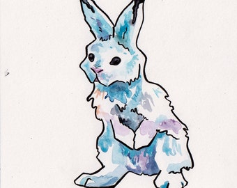 Alert Snow Bunny Painting - Watercolor Art of Rabbit in the Snow - Original Watercolor Painting by Jen Tracy of White Rabbit