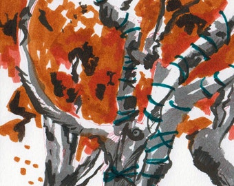 Drawing of a Tree - Small Nature Sketch - Fall Foliage - Original Marker Sketch by Jen Tracy - Study of Autumn Leaves - Decorative Tree Art