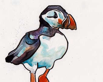Puffin Painting - Original Watercolor and Ink Art by Jen Tracy - Watercolor Puffin Art for Arctic Themed Nursery