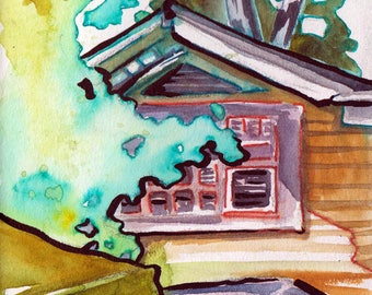 House Portrait in Watercolor - Attic Window Painting - Original Art of New Jersey House - Pretty Little Painting of a House - Home Decor