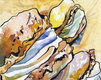 French Vanilla Macaron Art - Yellow Macarons Painting - Original Watercolor Painting of Dessert by Jen Tracy