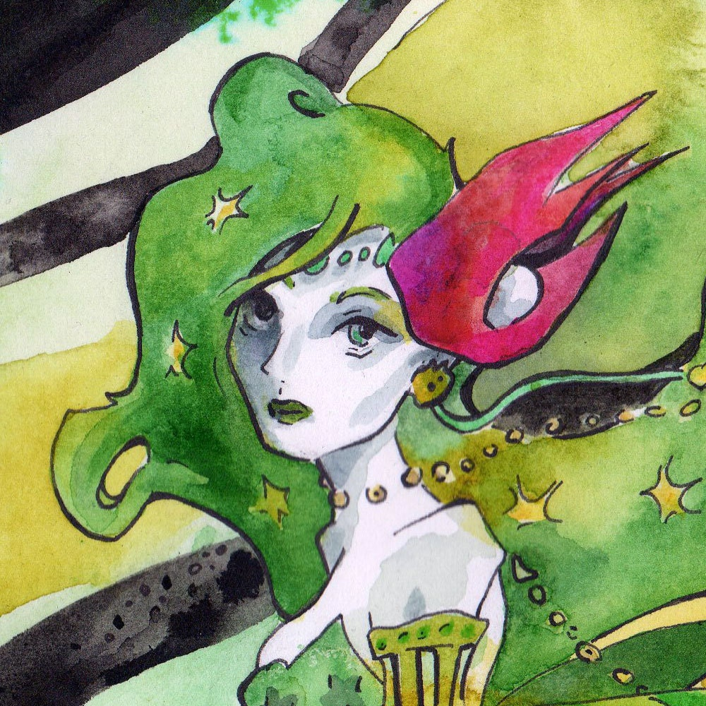 Print Of Watercolor And Ink Painting Of Rydia From Final