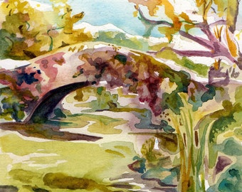 Autumn in Central Park Art Print- Watercolor and Ink Impressionistic Landscape Painting Reproduction- Plein Air Painting