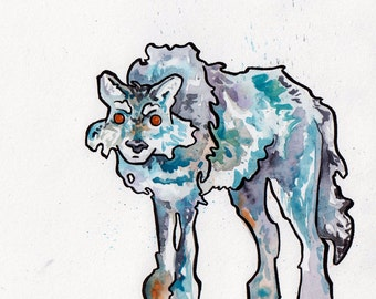 Lone Wolf Watercolor Art - Original Painting of Wolf by Jen Tracy - Watercolor and Ink Wolf Illustration