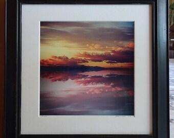 Framed Spring Sunset, 'REFLECTIONS'