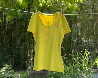 Women's Hand Embroidered Knit Tee (Chartreuse)