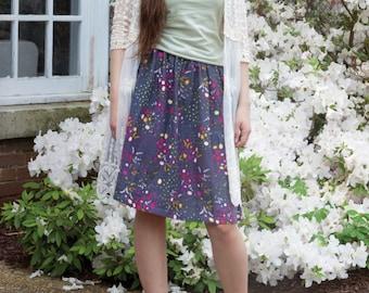 Floral Double Gauze Women's Cotton Skirt