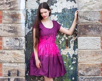 Adorn Cotton Lawn Women's Magenta Gathered Dress