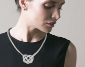 Bold silver celtic knot necklace . Free shipping