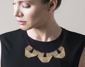 Geometric statement necklace.Gold bib necklace
