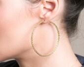 Gold extra large hoop earrings - handmade wire work - crocheted wire work jewelry - giant hoops unique hoop earrings