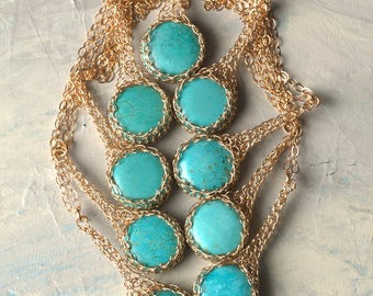 Small Turquoise Pendant Necklace, Gold Pendant Necklace, Turquoise Necklace, Unique Gemstone Jewelry for woman, Unique Turquoise Jewelry