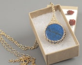 LARGE Lapis pendant necklace, Blue pendant necklace