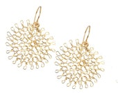 Flower earrings, Gold crochet earrings, Gift for girlfriend