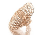Full Finger Ring, Statement Ring, Rose Gold Armor ring