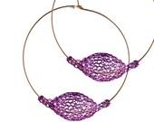 PURPLE extra large hoop earrings, BOHO jewelry, Unique hoop earrings, Statement Earrings, Wire crochet jewellery- Gypsy bohemian fashion