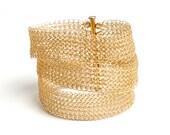 Gold Layered bracelet , Wire Crochet Bracelet , multi strand bracelet , Wedding bracelet , Bridal jewelry lace bracelet
