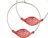 RED extra large hoop earrings, Unique hoop earrings, Wire Crochet , Statement Large Earrings, Summer GIFT for her- Gypsy bohemian fashion