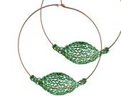Dark GREEN earrings, Extra Large hoop earrings, BOHO gypsy hoops, Unique hoop earrings, Wire Crochet jewelry- Gypsy bohemian fashion