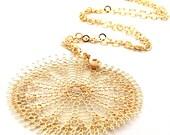 Statement Gold Flower, Flower Pendant Necklace, 2.5 inch Pendant