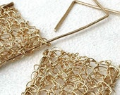 Geometric square wire crochet earrings large jewelry unique urban earrings geometric design statement jewellery