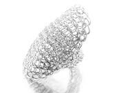 Full Finger Ring, Statement Ring, Sterling Armor ring