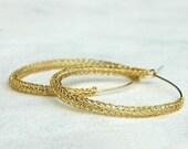 Wire crochet Earrings gold Hoop earrings . Large Gypsy Handmade Earrings Gypsy Jewelry Fashion- Gypsy bohemian fashion