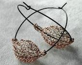 Wire crochet Earrings  Rose Gold hoop earings  crocheted beads on silver oxidized earrings  - Gypsy bohemian fashion earrings