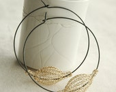 Gold and silver extra large hoop earrings - oxidized  silver hoops - gold corchet wire bead- Gypsy bohemian fashion