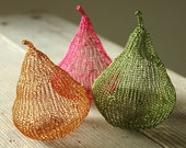 Home decor Pears, Wire crochet sculptures