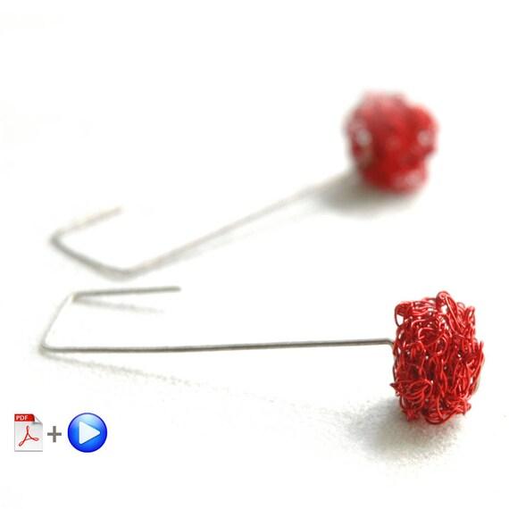 Wire crochet cube earrings pattern ONLINE VIDEO plus PDF