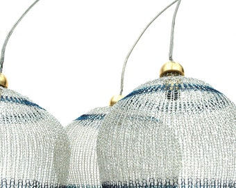Crocheted Lampshade in silver and blue -  4 inch diameter