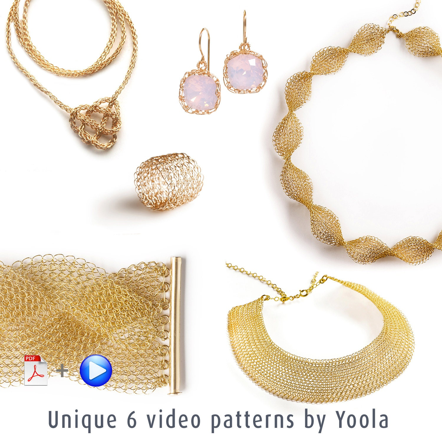Learn jewelry making, UNIQUE crochet patterns combo, Wire knitting ...