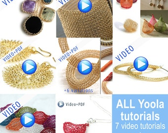 Jumbo Yoola Crochet jewelry making tutorials ,online video tutorials PDF patterns step by step jewelry instructions