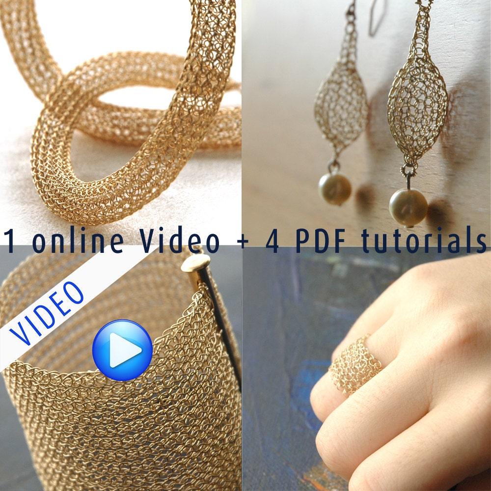 Crocheter soi-même avec du fil métallique.1 Vidéo Vidéo Vidéo on-line, 4 Tutoriels PDF. Bracelet ,Collier Tube, Boucles Goutte et Perle,Bague Dentelle f71beb
