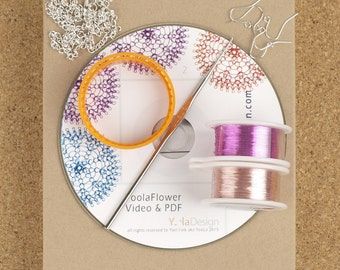 Yoola Flower Pattern - DIY jewelry kit - Wire Crochet Flower tutorial Diy Kit - Flower Crochet Pattern - Jewelry making kit - Supply Kit