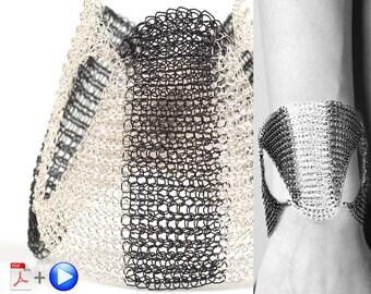 SHOGUN,Wire Jewelry Tutorials,Wire Wrap Tutorial,Wire tutorial,Wire Bracelet,Black and white Bracelet,Crochet Pattern,Wire wrapped jewelry
