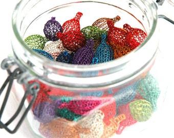 Custom color wire crochet  beads in a pod shape