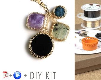 Wire crochet pattern - Crochet Pendant Necklace - BOHO Necklace - kit crochet wire jewelry - Jewelry Making Kit - Crochet Necklace kit