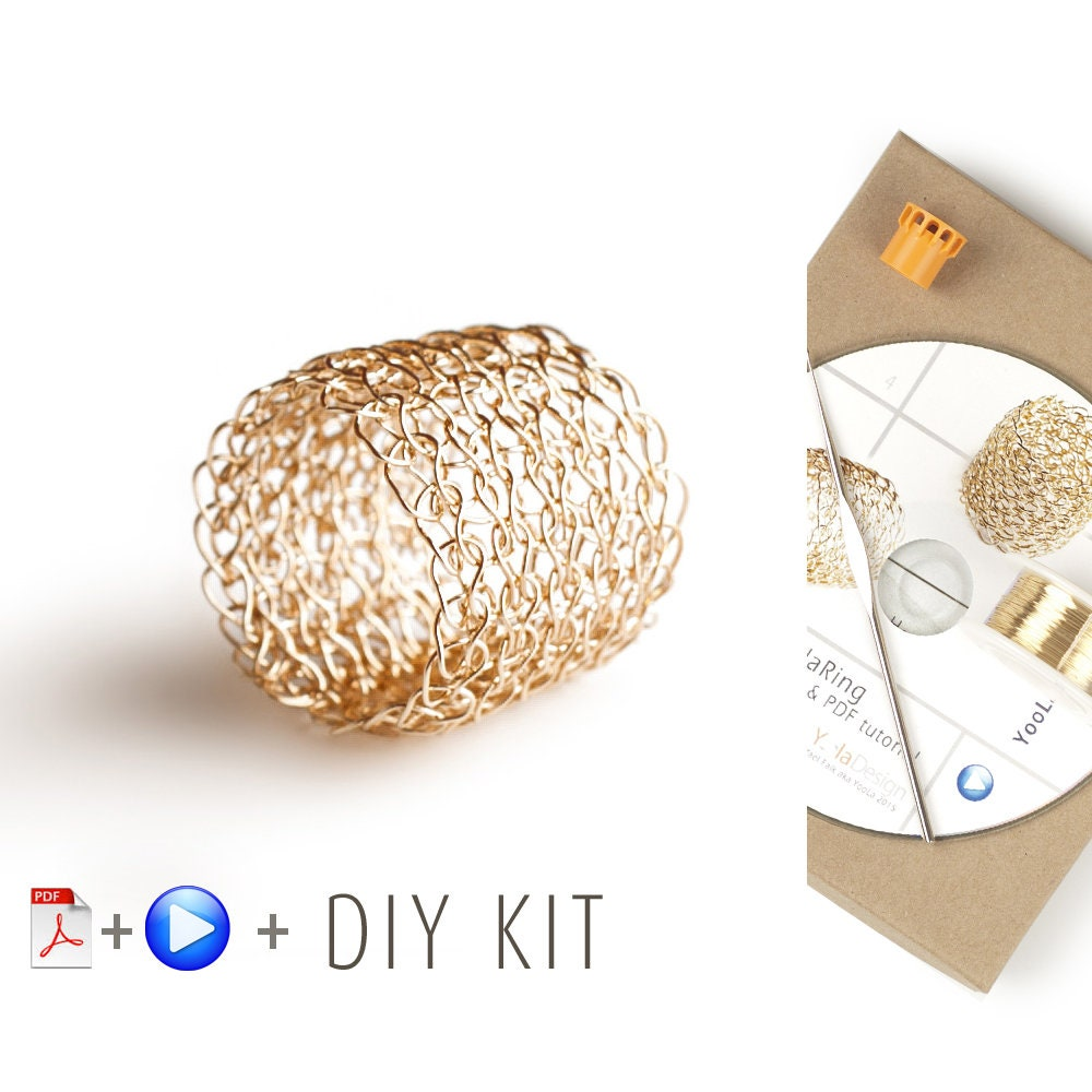 Ring Pattern DIY DIY DIY Kit - Crochet Ring - Jewelry Making KIT - Crochet Pattern Kit - Lace ring Pattern - Wire Crochet Ring - Gift For Her 30db27