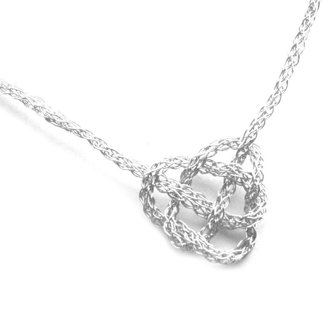 Silber Halskette Herz keltische Knoten häkeln Draht Schmuck | Etsy