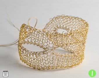 Venice bracelet, Partial Crochet Tutorial, Wire Crochet Pattern, Wire Crochet bracelet, PDF Pattern, Learn to crochet a cuff