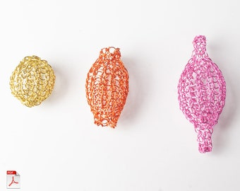 How to crochet wire beads, DIY mesh beads tutorial, PDF pattern , Learn jewelry making
