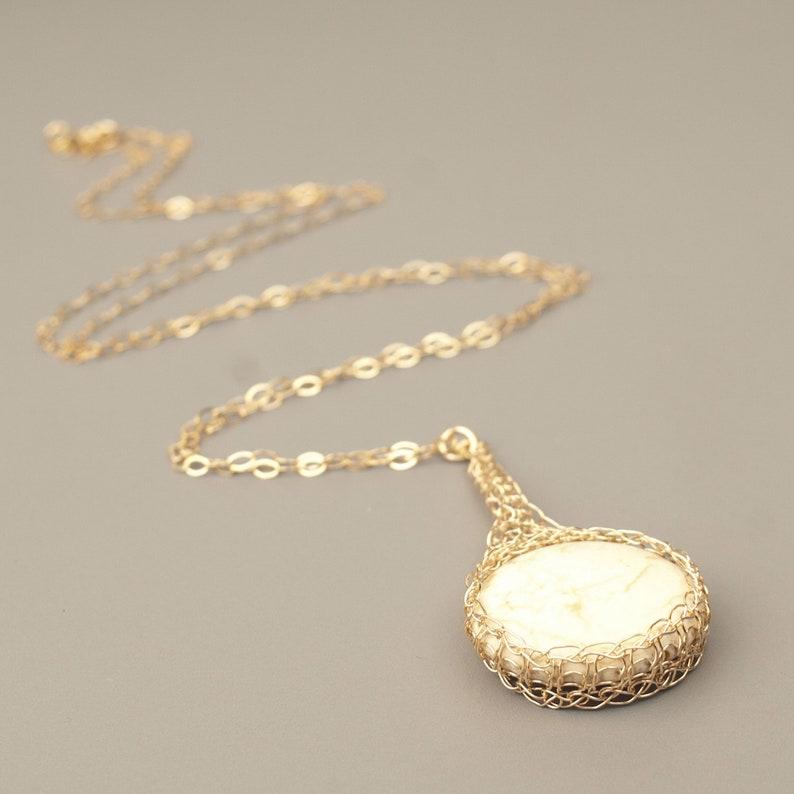Ivory Howlite pendant necklace Ivory stone necklace