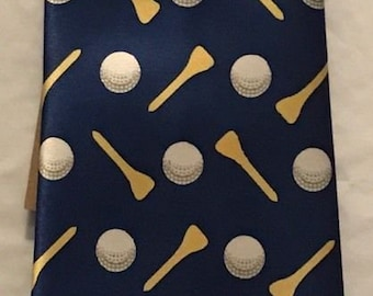 Golf Themed Tie ~ 100% Polyester Blue Tie ~ Unbranded