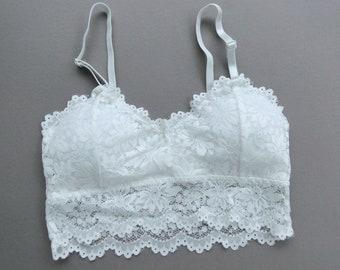 0adca29277e27 white lace bralette top - long floral lace bra