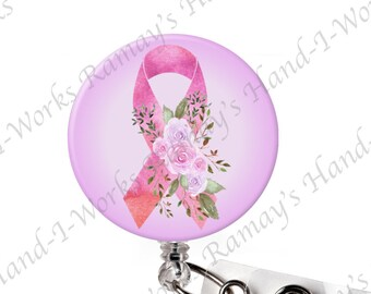 Floral Pink Ribbon Breast Cancer Badge Holder with Swivel Clip Retractable Badge Reel