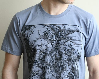 Albrecht Durer Four Horsemen of the Apocalypse Men's graphic tee, gothic shirt, medieval woodcut, Gift for goths, metal shirt