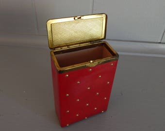 Ladies Red Leather Cigarette Case with Hinged Lid by Princess Gardner